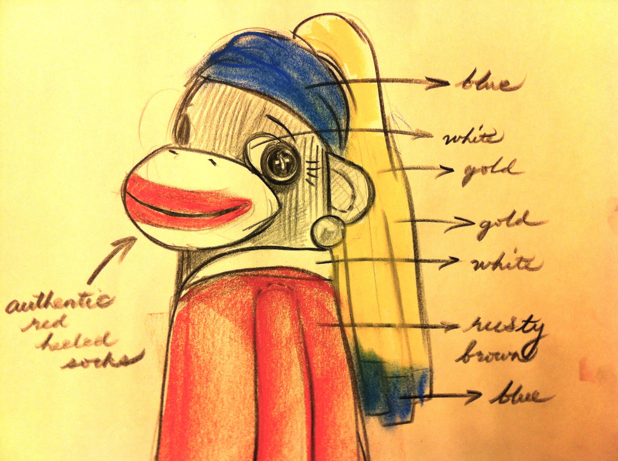 Girl Sock Monkey Drawing