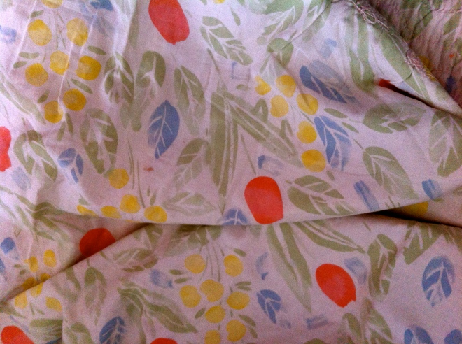 The inside lining is an duvet cover purchased from the original IKEA outside of Stockholm, 1977.